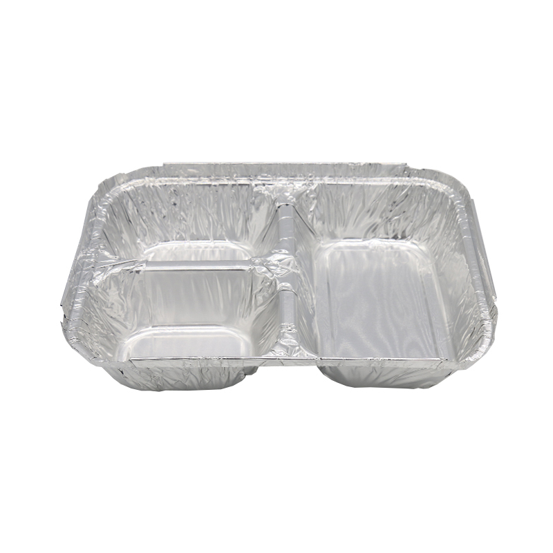 Disposable 3 Section Rectangular Foil Pan with Board Lid