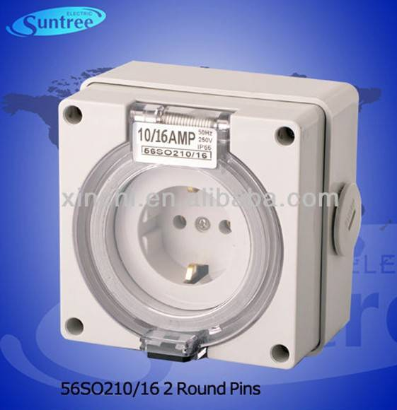Australian industrial plug and socket 56SO210/216 single phase IP66 two round pins passed SAA