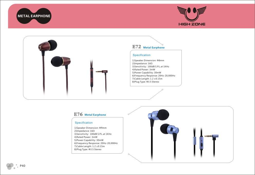 headset and wired metal earphones for mobilephone,mp3 media player