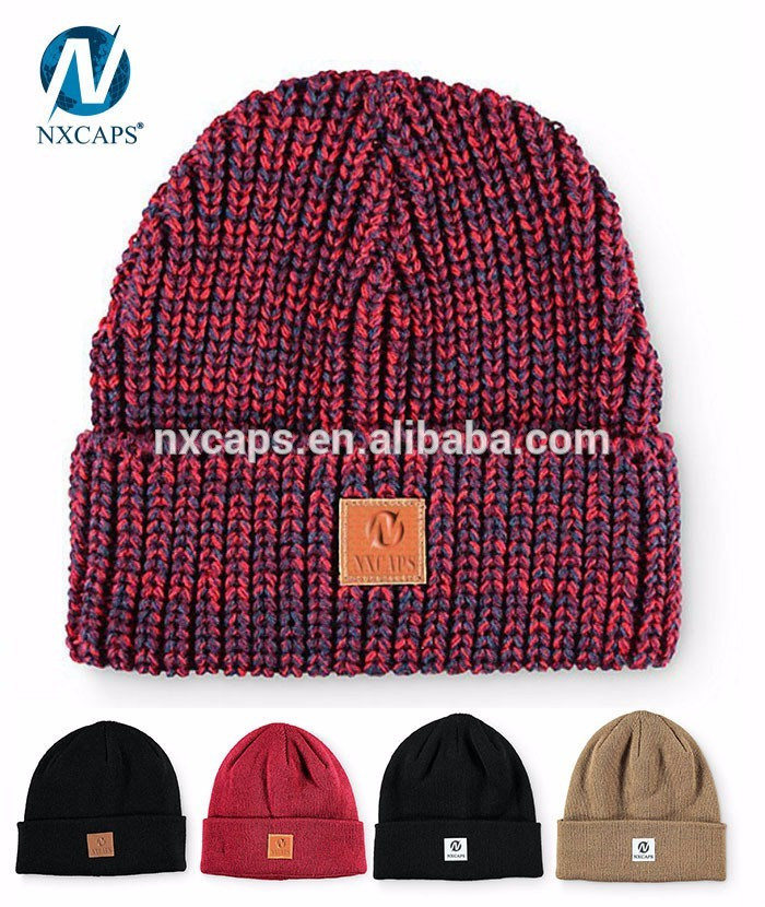 Classic Cashmere Slouch Beanie Cashmere Knit Cap Hat Sale with leather patch/leather rasta hats