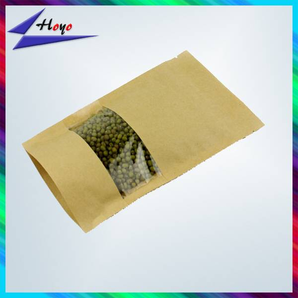 kraft paper bag with window and zipper
