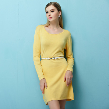 New Design Frocks Girls Sweater Plus Size Scoop Collar Knit Jumper Dress Loose Pullover