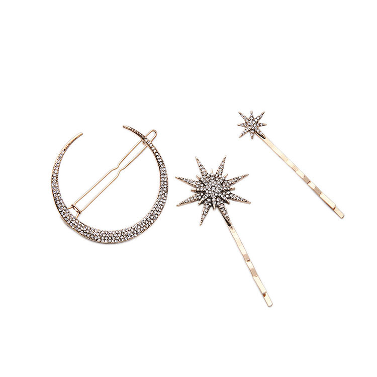 3 Pcs/ Set Lady Fashion Creative Moon Star Shape Alloy Hair Clip