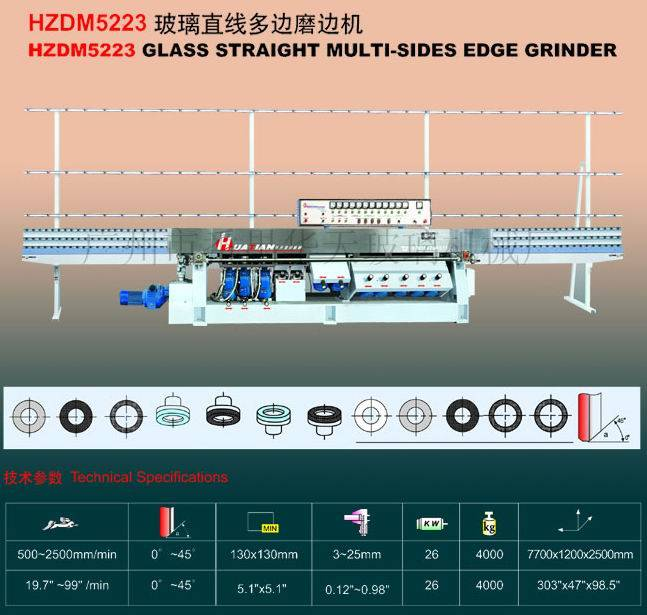 Huatian Glass Equipments/HZDM5223 Glass Straight Multi-Sides Edge Grinder