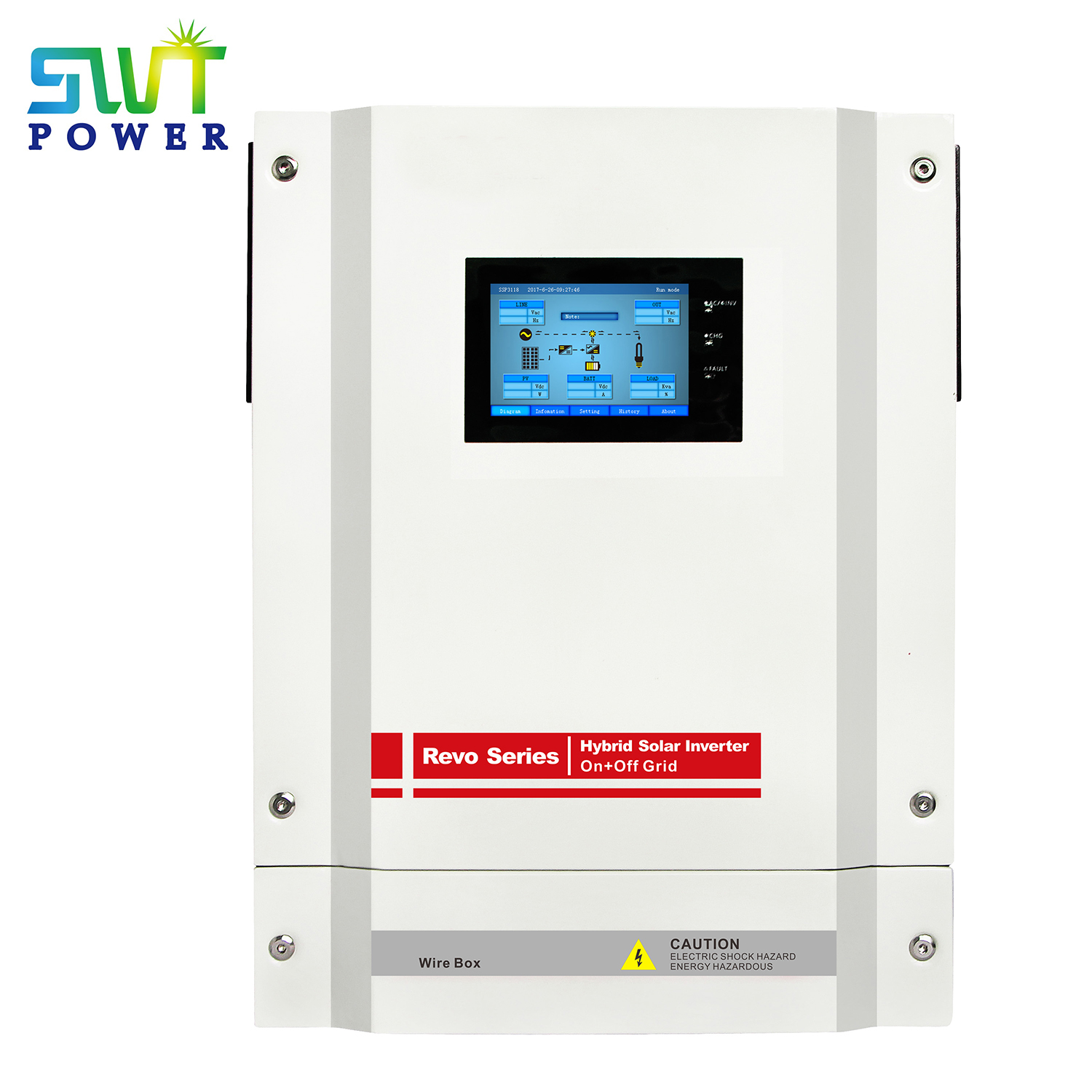 On-grid & Off-grid Solar Hybrid Inverter with Touch screen Display External Wi-Fi Device Optional