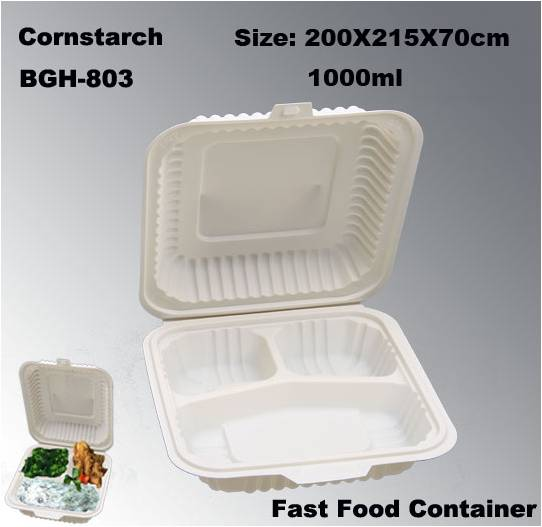 3 parts Eco Compostable Disposable Tableware Fast Food Box