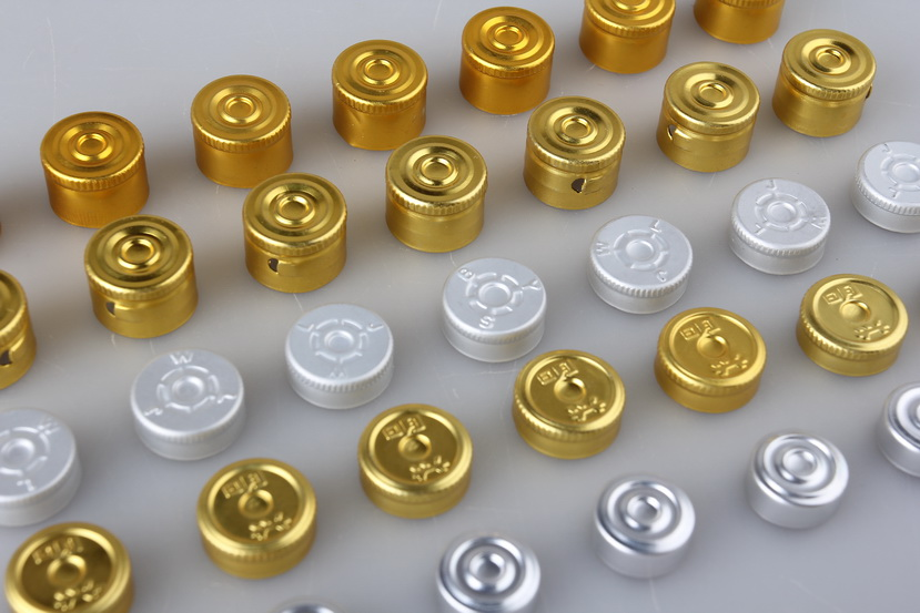 Golden Silvery Aluminium Vial Seals Caps For Oral Laquid Glass bottle