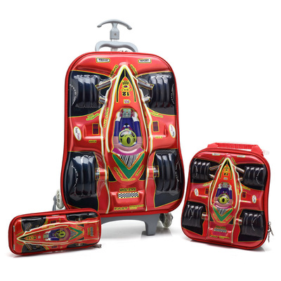 3D EVA trolley school backpack set, wheeled rolling bag, three piece with lunch bag, pencil box