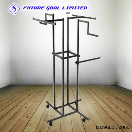 Four Arms Clothes Display Rack / Metal Garment Display Stand