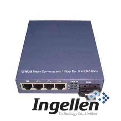 10/100M Ethernet Media Converter with 1 Fiber Port & 4 RJ45 Ports
