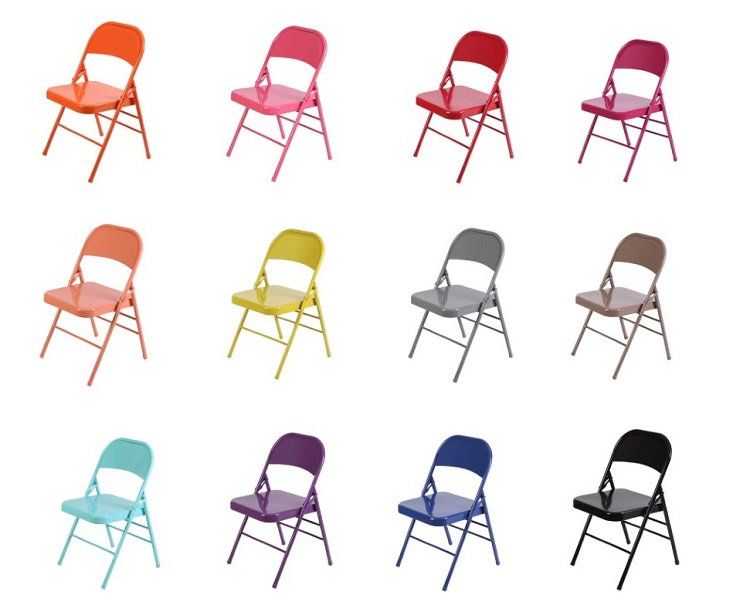 Metal folding chairs in different colors