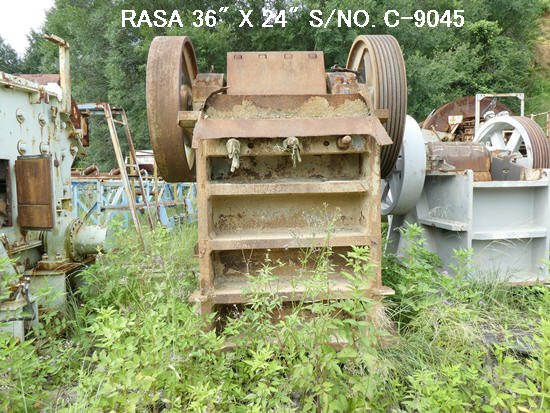 "USED ""RASA"" 36"" X 24"" SINGLE TOGGLE JAW CRUSHER S/NO. C-9045 WITHOUT MOTOR."