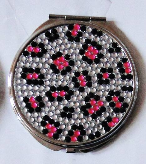 Fuchsia Stone Leopard Pattern Pocket Mirror