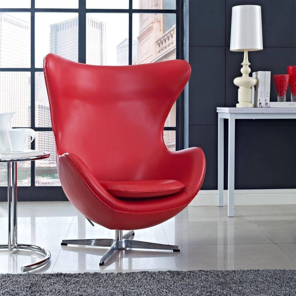 MLF Arne Jacobsen Red italian Leather Egg Chair (5 Colors),100% Imported  Leather & Hand Sewing