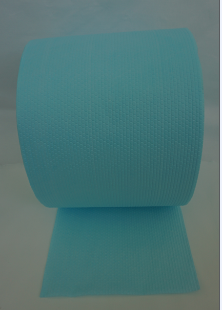 Turquoise embossed hexagonal spunlace nonwoven fabric
