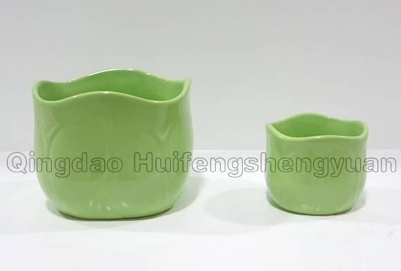 grass green ceramic flowerpot