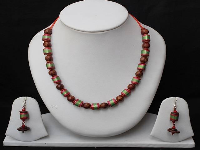 Organic Bamboo Jewelry -Coral Beads