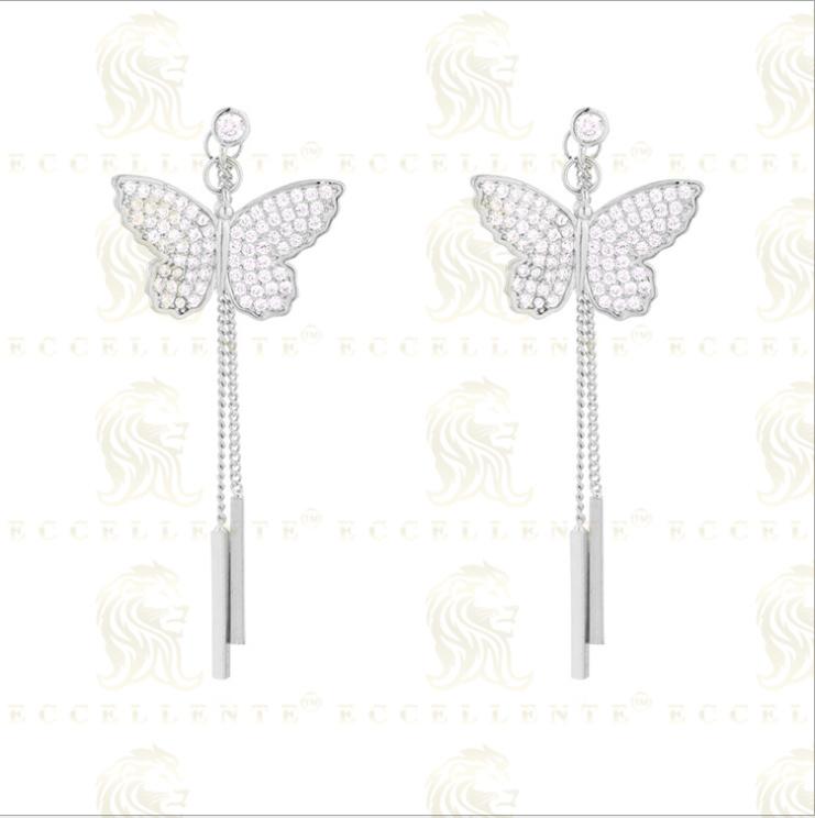 S925 Silver Earrings Korean Version Girl Style Sweet Butterfly Tassel Earrings Exquisite Flash Diamo