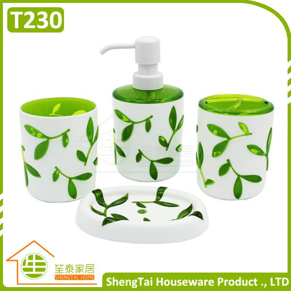 Cheap 3D Tree Leaves Pattern Family Hotel Cute Bathroom Sets For Gift