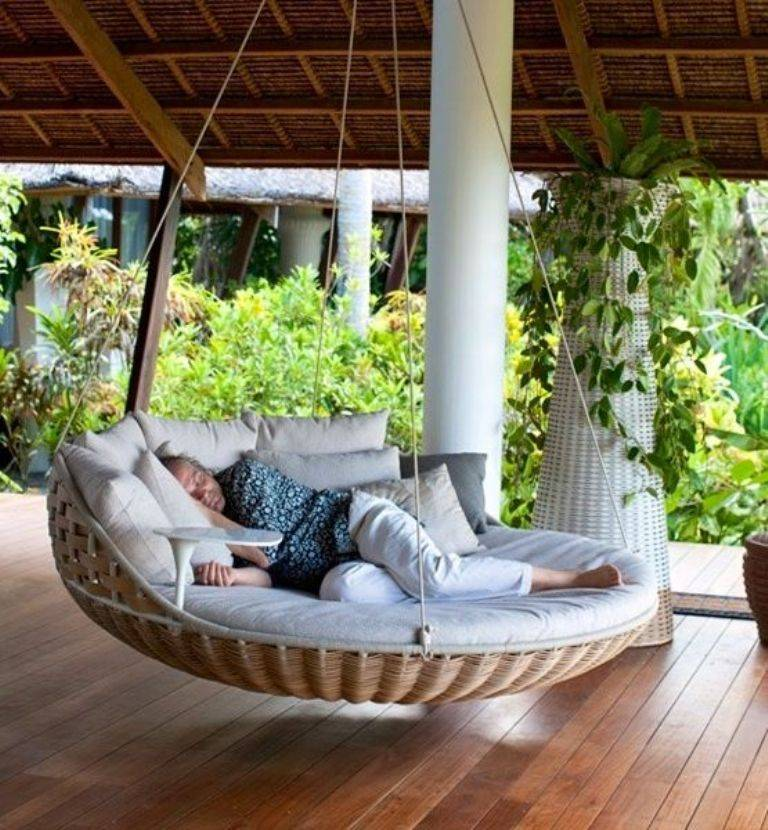 rattan hanging swing bed