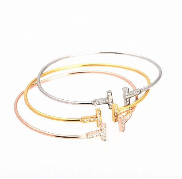 Fashion 3 Color Women Alloy Crystal Bangle Bracelet