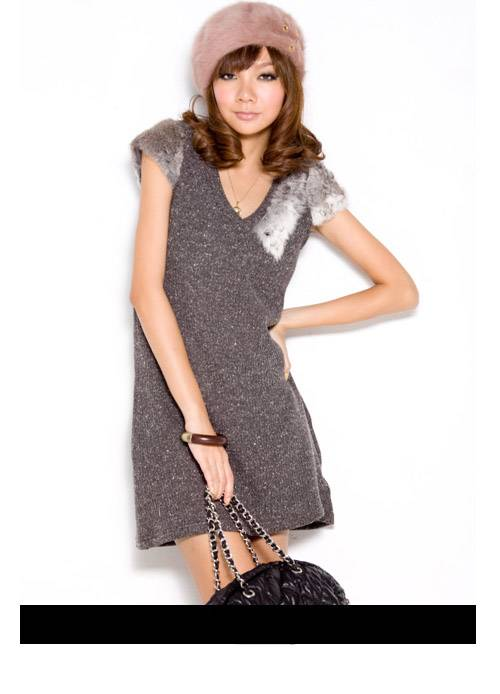 Hot Sale V Neck Cap Sleeve Wool Dress