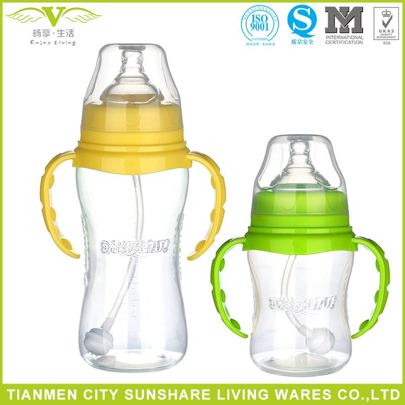 BPA Free Eco-friendly PP Material Baby Feeding Bottle With Handle