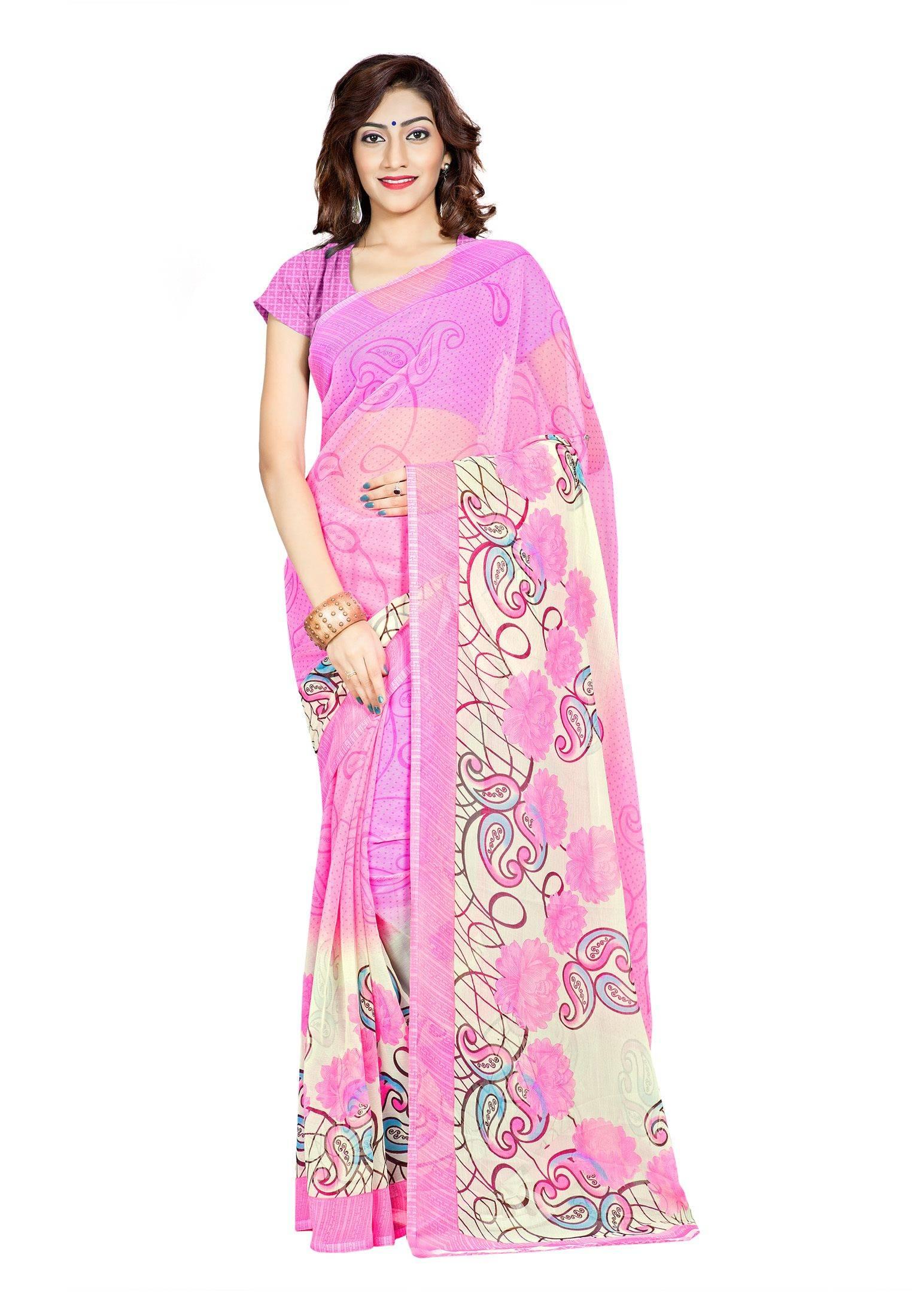 Ambaji Casual Wear Pink Colored Printed Chiffon Saree/Sari