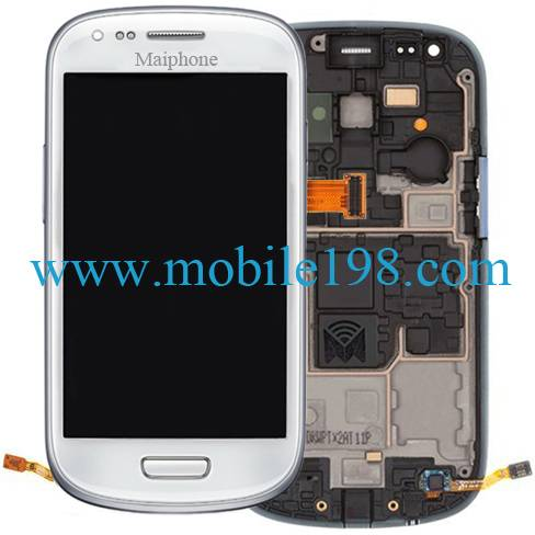 LCD Screen and Digitizer with Front Housing for Samsung Galaxy S Iii Mini I8190 Mobile Phone