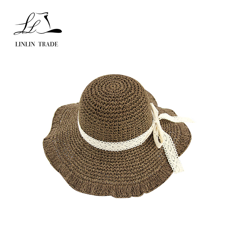 New fashionable decorated lace paper straw beach hats for women hats