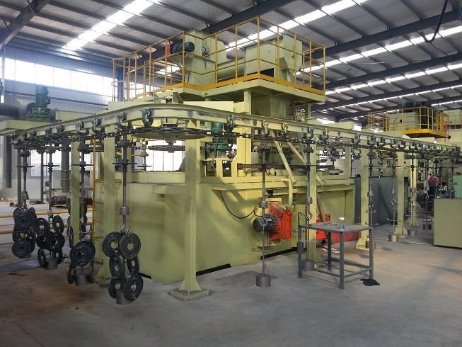 hanging chain type sand blast machine