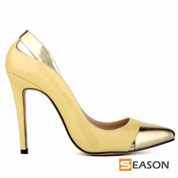 gold heels women pump