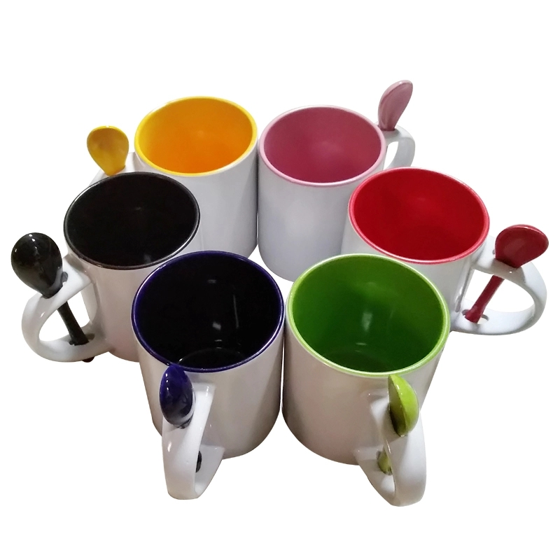 Hot Sale Blanks Ceramic Mugs for sublimation with Spoon in Handle
