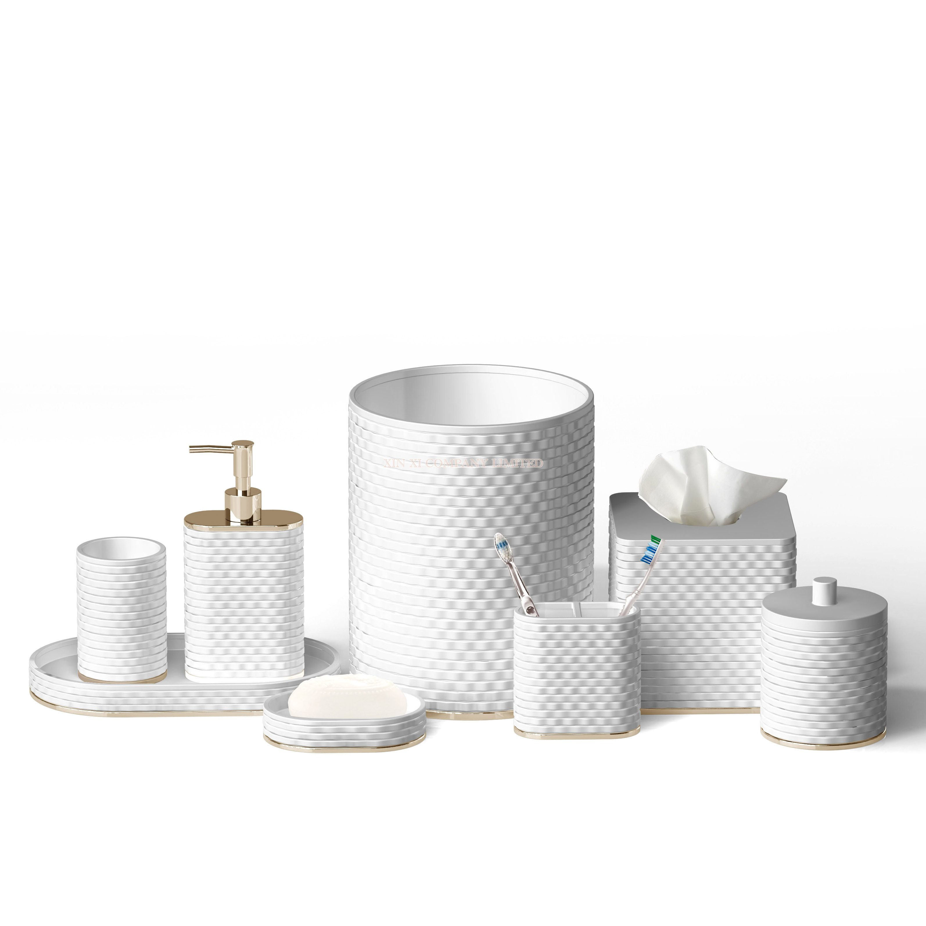 Fashionable style 8 pcs set ceramic with metal bathroom acessories