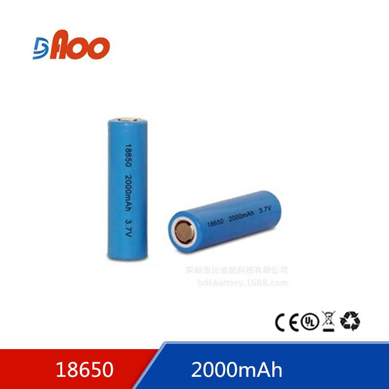 rechargeable lithium ion battery 18650-2000 3.7v 2000mAH 18650 battery