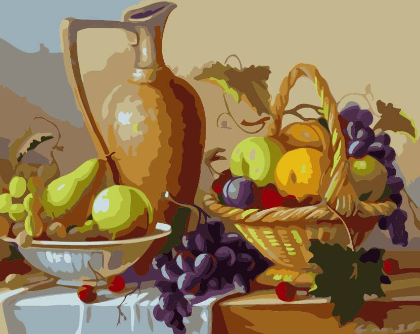 Frameless paint by numbers kits painting on canvas still life Fruit