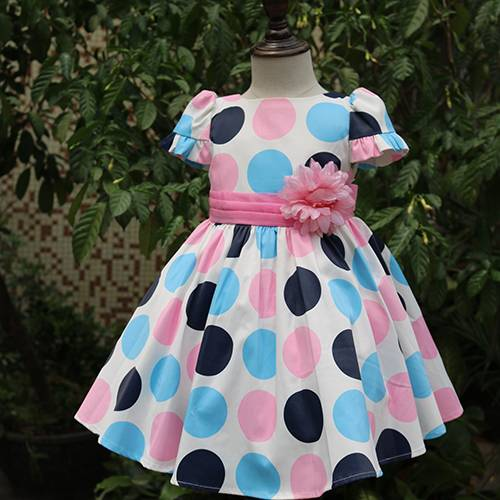 Fashion princess sleeve dot pattern big flower belt party girl dress