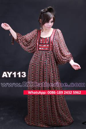 Floral Printed Chiffon Fashionable Plus Kaftan Dress