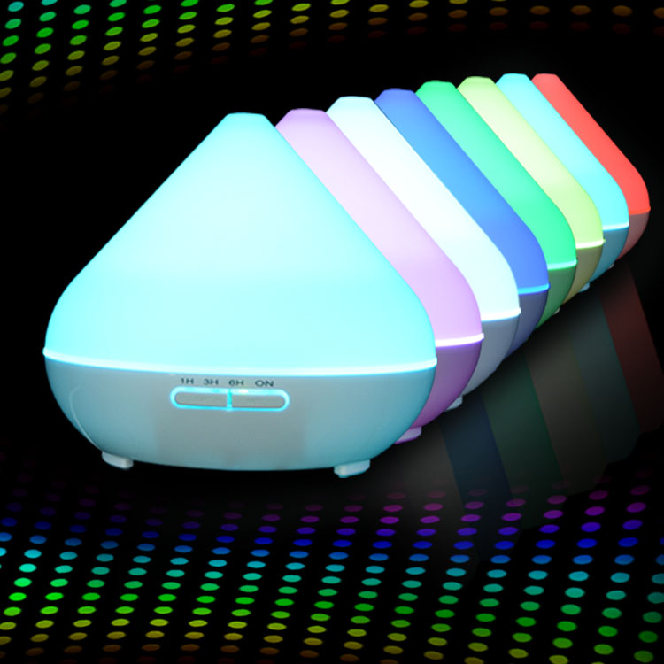 Anion Aroma Diffuser 300ml Round Plastic White with Multicolored LED Lights for Office