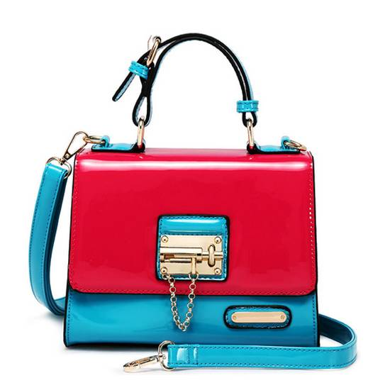 Contrast Color Fashion PU Handbag (ECB014)