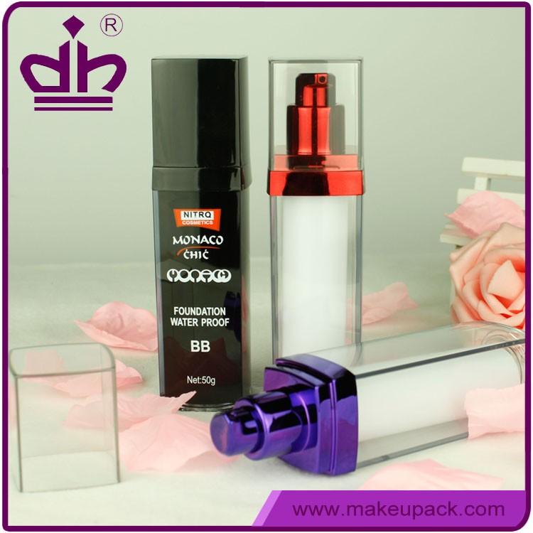 50g BB cream plastic square airless cosmetic bottle