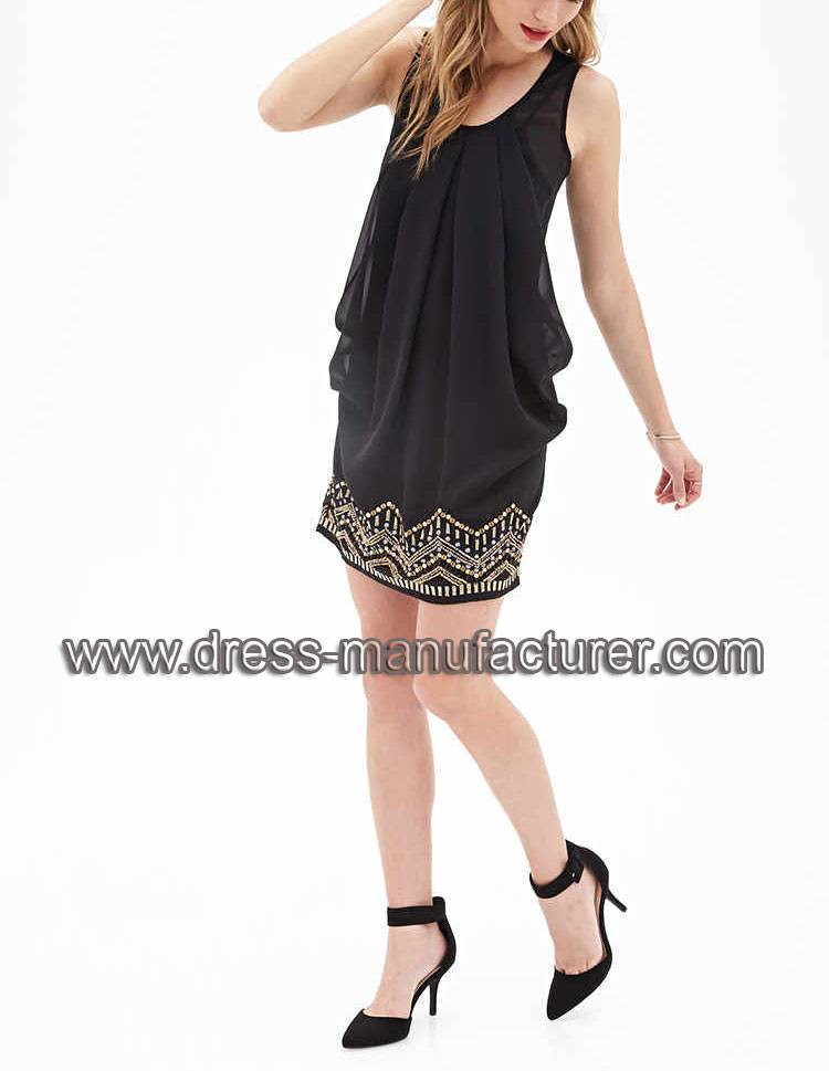 2015 Sleeveless Beaded Chiffon Shift Dress For Women L1898