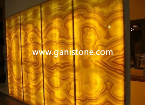 Translucent backlit stone decorative wall panels