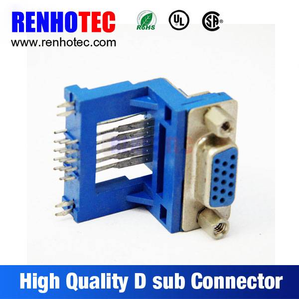 Right Angle Connector Dual Port 15 Pin D-SUB Connector