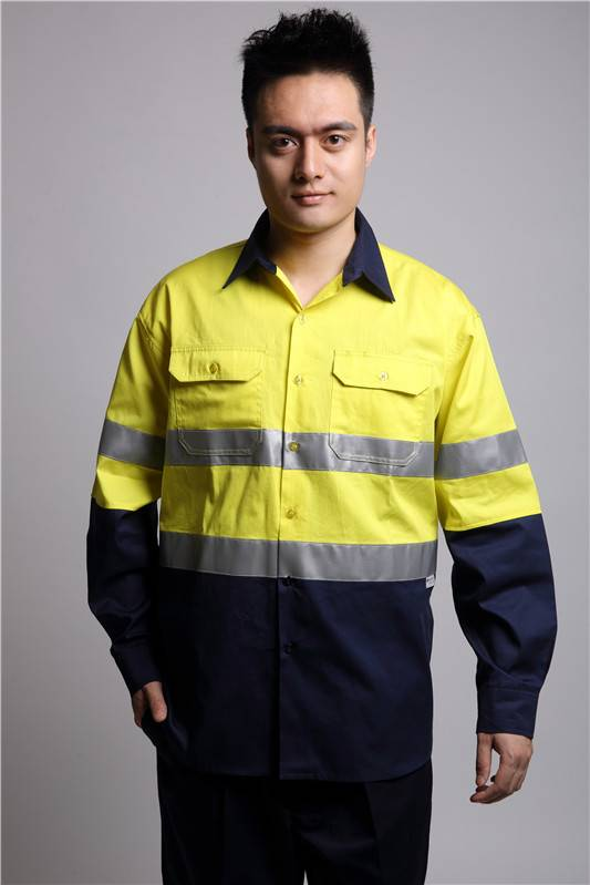 Wholesale antistatic workwear shirt with reflective tapes