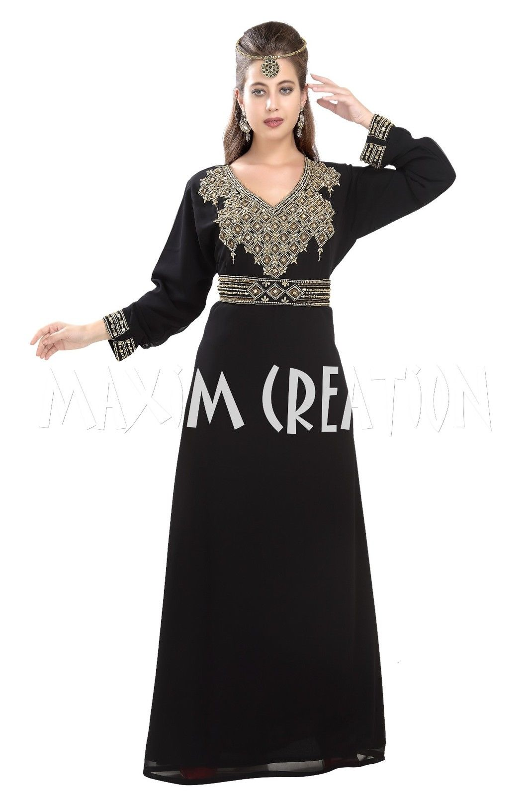 FANCY DUBAI KAFTAN WITH GOLDEN HAND EMBROIDERY FOR WOMEN ONLY