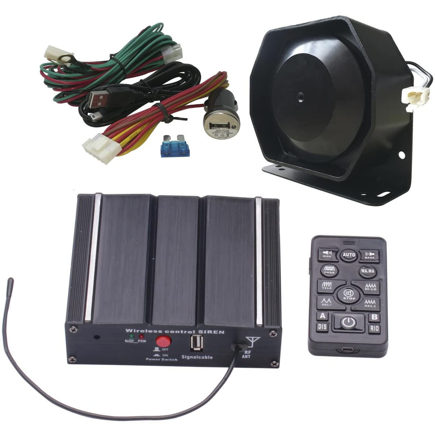 Police Siren Kit with Speaker Wireless Remote Controller and PA system for broadcasting