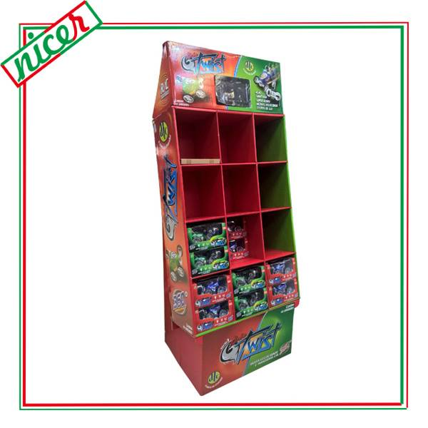 RC Car Toys Cardboard Shelf Display With LCD Monitor
