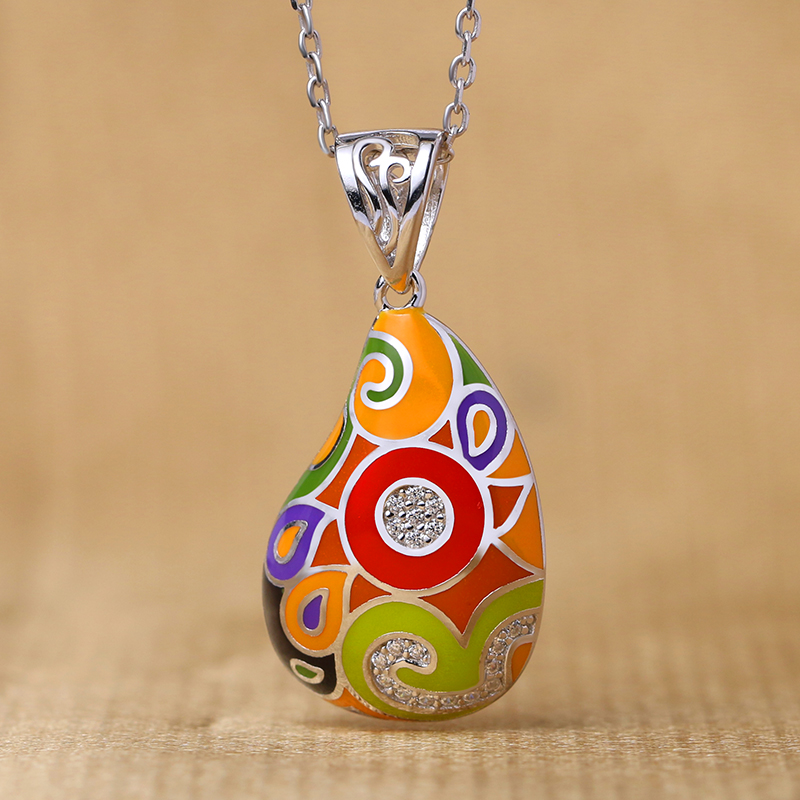 Enamel pendant for women Colorful jewelry, jewelry design, custom processing, wholesale and OEM