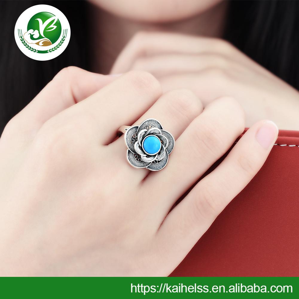925 Sterling Silver Tibetan Turquoise Handmade Ring Gemstone Handmade Silver Wedding Ring for women